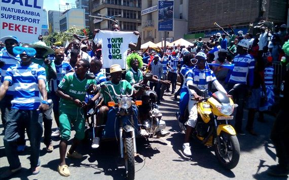 Gor Mahia FC and AFC Leopards SC in the Mashemeji Derby mood. Photo / COURTESY