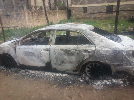 IMG 20151019 WA0002 560x420 - Outrageous! Woman Burns Down Husband's Car After She Found Him Cheating (PHOTOS)